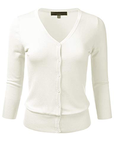 Women's Button Down 3/4 Sleeve V-Neck Stretch Knit Cardigan Sweater Ivory M