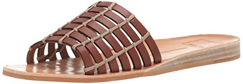 Dolce Vita Women's COLSEN Slide Sandal Brown Leather 8.5 M US Dolce Vita Brown Leather