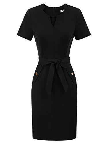 GRACE KARIN Women's Casual Wear to Work Office Career Sheath Dress with Belt XXL Black
