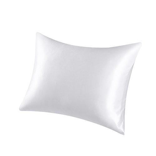 Satin Zippered (Premium Collection Luxurious Silky Satin Pillowcase, White)