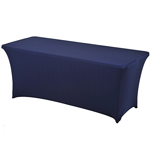 (Haorui Rectangular Spandex Table Cover (6 ft. Navy Blue))