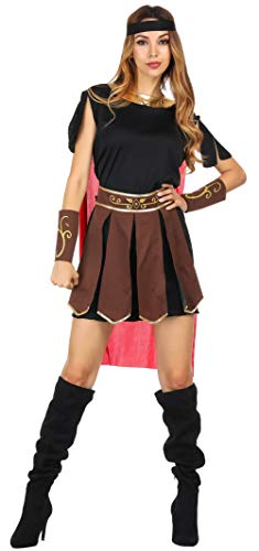 Women's Halloween Costumes Black Roman Warrior Fancy Dress Costume M