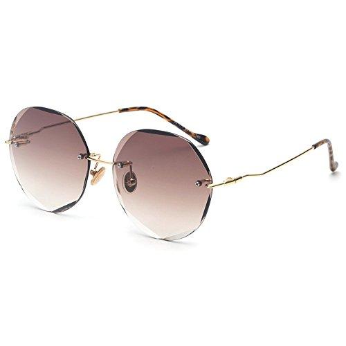 de Sunglasses desapareció Gafas Mujeres sin Verde de Verano Femenina Don Rosa TL Reborde UV400 del Redondas Gafas Sol Marrón Círculo T8qxadPgdw
