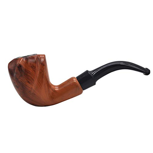 (PeiQiH Wooden Tobacco Pipes Handmade, Detachable are Smooth Creative Rosewood Resin Pipe Filters Portable 2 Pieces Men's Gifts Smoking Pipe-A)