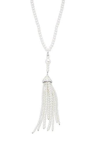 Sterling Forever Vintage Art Deco Necklace For Women – Great Gatsby Inspired Necklace, Simulated Pearl Tassel (Simulated Pearl Tassel Necklace)