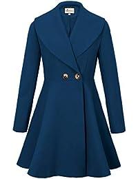 1451e66974e Women s Wool Trench Coat Lapel Wrap Swing Winter Long Overcoat Jacket