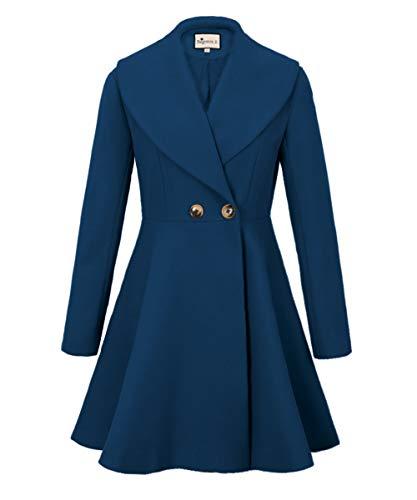 (Begonia.K Women's Wool Trench Coat Lapel Wrap Swing Winter Long Overcoat Jacket (US XL=Tag 2XL, Lake Blue))