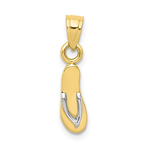 - Solid 10k Yellow and White Gold Two Tone Flip Flop Pendant Charm (5mm x 20mm)
