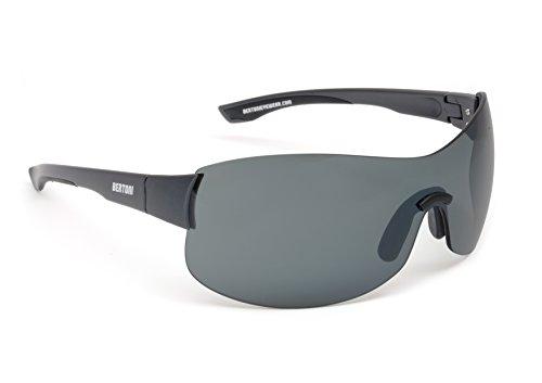 Bertoni Sports Wraparound Windproof Sunglasses for Cycling Running Golf Ski - Flexible Anticrash Lens - N20A Mat Black - Italy