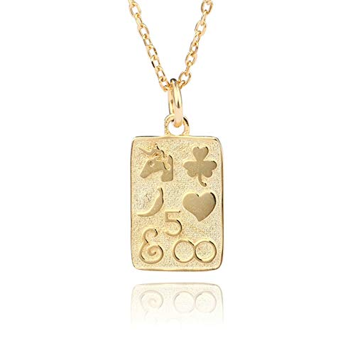 Aooaz Women Necklace Silver Heart Necklace Rectangular Gold Necklace Pendant for Her
