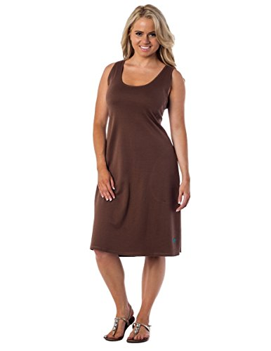 Scoop Brown Cotton 100 Alki'i Line Neck Dress Angelina A Sleeveless qw6qx4UBt