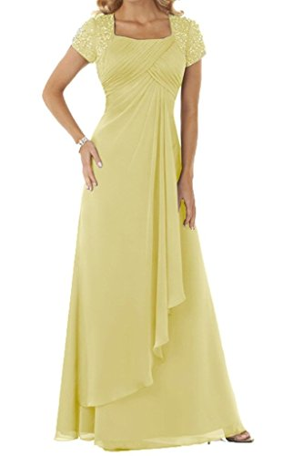 Lang Ballkleider Chiffon mit Empire Abendkleider Gelb Strass Brautmutterkleider Damen Festkleider HUINI T8fw5tqq