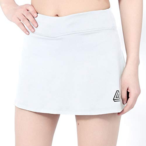 DOMICARE Women Pleated Active Athletic Skorts with Pockets, Lightweight Tennis Golf Skirts for Running Workout, M, White