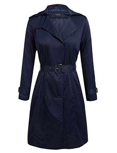 IN'VOLAND Women's Plus Size Trench Coat Double Breasted Long Trench Coats with Belt