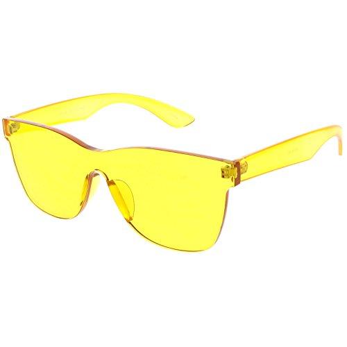 sunglassLA - Rimless Horn Rimmed Mono Block Sunglasses With Colorful One Piece PC Lens 68mm - Sunglasses Rimless Monoblock