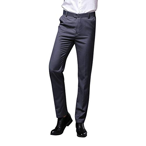 Teresamoon Men's Trousers Stretchy Slim Fit Casual Pants Fashion Pure-Coloured Business Work Pants Gray