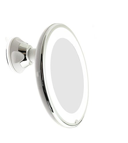JiBen LED Lighted 10X Magnifying Makeup Mirror with Power Locking Suction Cup, Bright Diffused Light and 360 Degree Rotating Adjustable Arm, Portable Cordless Home and Travel Bathroom Vanity Mirror]()