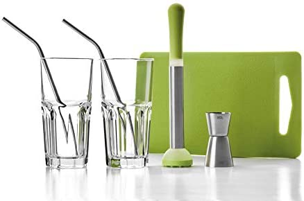 IBILI Mojito-Set 7-teilig, Edelstahl, Silber/transparent/grün, 26 x 10 x 18 cm, 7-Einheiten