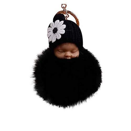 Sleeping Baby Plush Pompom Keychain,Crytech Cute Fluffy Fuzzy Slept Baby Doll Pom Pom Key Chain Handbag Pendant Charm Keyring Ring for Backpack Car Key Purse Cellphone Accessory (Black)