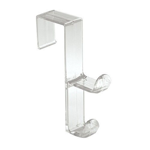 InterDesign Over Door Organizer Hook for Coats, Hats, Robes, Clothes or Towels – Double Hook, Clear