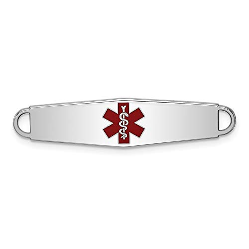 Sonia Jewels Sterling Silver Rhod-Plated Medical ID Plate (8mm x 33mm)
