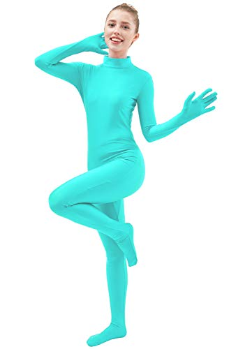 Ensnovo Womens One Piece Unitard Full Body Suit Lycra Spandex Skin Tights MBlue,M