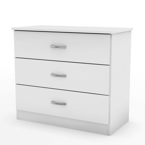 White Chest Tv (South Shore 3050033 Libra Collection 3-Drawer Dresser, Pure White with Metal Handles in Pewter Finish)
