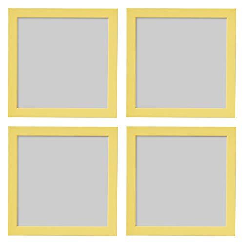 Ikea FISKBO - Marco de fotos cuadrado (21 x 21 cm, 4 unidades), color amarillo