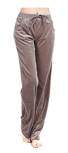 Womens Velour Lounge Pant - ARJOSA Women's Casual Pockets Drawstring Velour Track Pants Lounge Velvet Trousers (M, Beige)