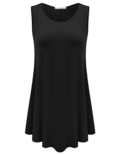JollieLovin Womens Sleeveless Comfy Plus Size Tunic Tank Top with Flare Hem - Black, XL (1X)