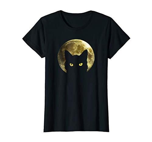 Womens Black Cat Full Moon Halloween Cool T-shirt Medium -