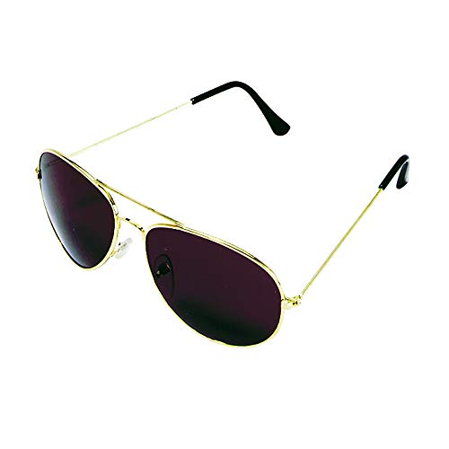 Rhode Island Novelty Dark Aviator Sunglasses | Gold Frame with Black Lens | One Pair