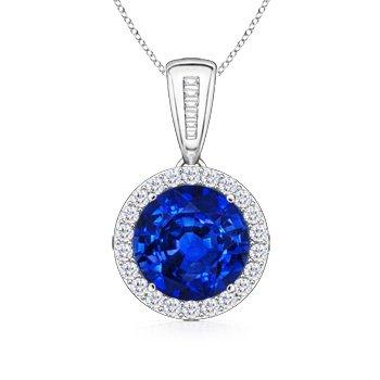 Round Blue Sapphire and Diamond Halo Vintage Pendant in Platinum