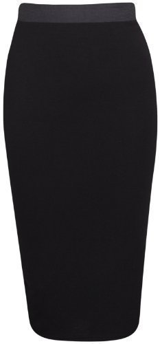 Purple Hanger - Damen Bleistiftrock Kontrast Elastisches Taillenband Passform Bodycon Büro Midi Rock - Schwarz, EU 36 / 38
