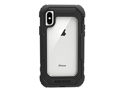 Griffin, iPhone X Rugged Case, Survivor All-Terrain with Belt Clip, Impact Resistant, 10 ft drop protection, Black/Clear Griffin Iphone Holster
