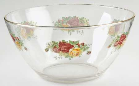 ROYAL ALBERT OLD COUNTRY ROSE GLASS BOWLS. SET OF 4 ( NEW WITH TAG)