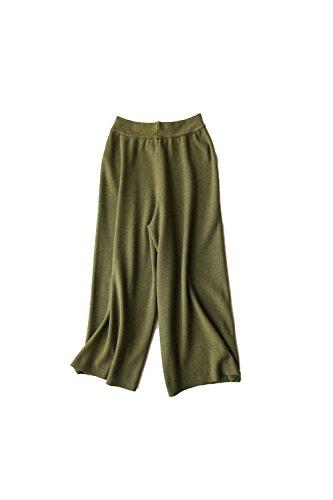 Pantalón de punto recto ancho tobillo Yacun Femenil Army
