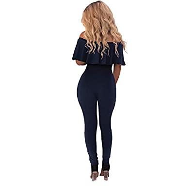 PRETTYGARDEN Women's Summer Casual Off Shoulder Long Lace up Jumpsuit Rompers: Clothing