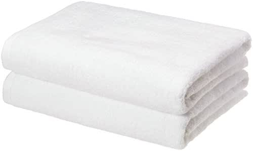 AmazonBasics Quick-Dry Bath Towels, 100% Cotton, Set of 2, White