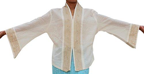 Thai Cotton Ladies Shirts (RaanPahMuang Grain Line Womens Taekwondo Shirt Witches Sleeve Thai Cotton, Medium, White)