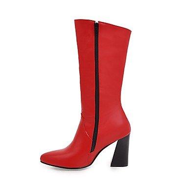 Botas Invierno Robusto 7'5 red Vestido Tacón Otoño Hebilla amp;M Rojo Paseo Heart Confort Mujer Blanco 9'5 cms Casual Amarillo Negro Semicuero EYTgq