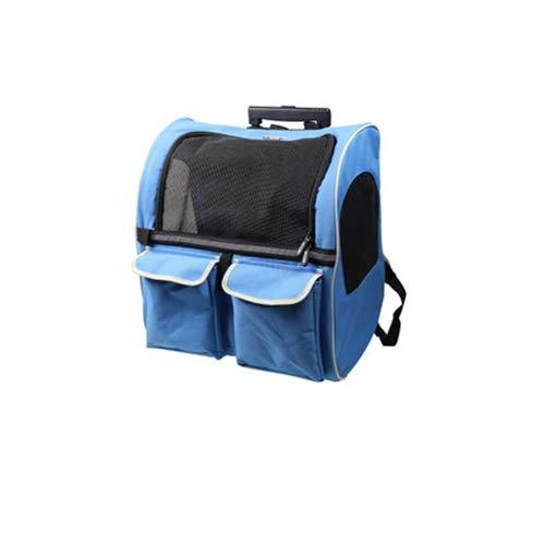 blueeLarge Pet Out Breathable Trolley Case Cat Backpack Dog Backpack, Portable Rolling Pet Clip Travel Backpack,GreenLarge