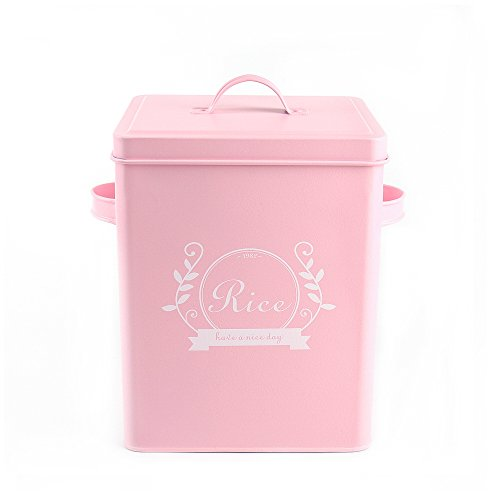 Hot Sale H102 Square Metal Food/Flour/Sundries Kitchen Storage Tin Canister/Bucket/Containers with Lid And Scoop (pink)