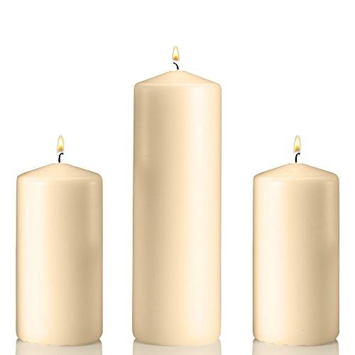 (Light Set of 3 Unscented Pillar Candles 3x9