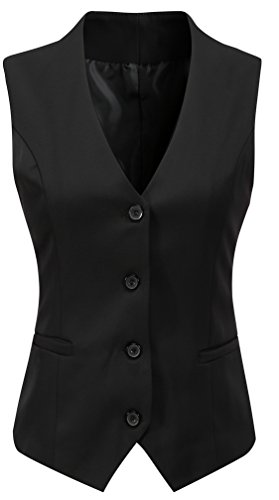 Foucome Women's Formal Regular Fitted Business Dress Suits Button Down Vest Waistcoat Black US L - Tag 4XL