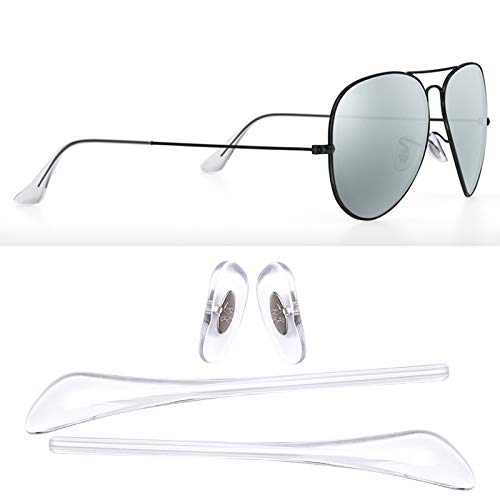 HEYDEFO Replacement Temple Tips Nose Pads for Ray-Ban Aviator RB3025 3026 Sunglasses Repair Kits (Clear),Bonus Sunglasses ()