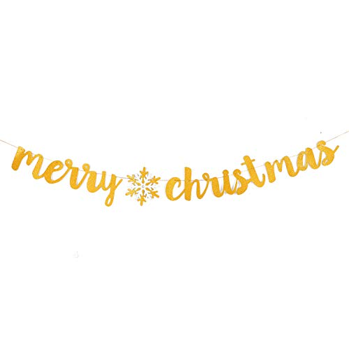 - YangMM Merry Christmas Banner Gold Glitter Paper Pennant Hanging Banner Christmas Decoration Holiday Bunting Home Garden Christmas Décor