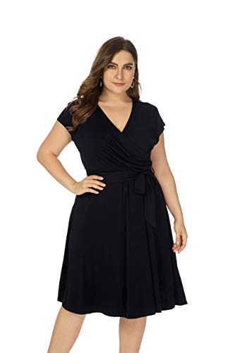Ivicoer Women Summer Plus Size V Neck Cap Sleeve Cross Wrap Floral Printed Midi Dress with Belt(L-4XL) (L, Black)