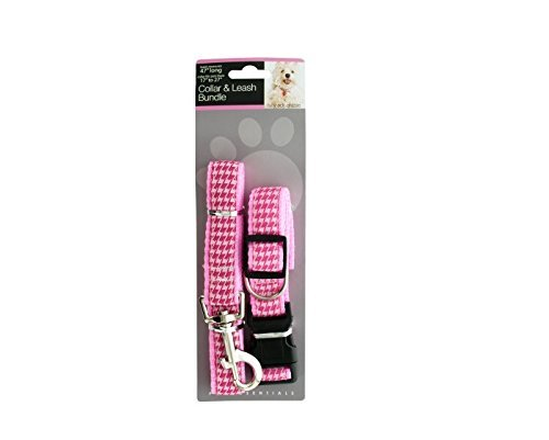Kole KI-OD923 Pink Houndstooth Collar & Leash Bundle Set, One Size by Kole