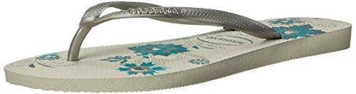 Havaianas Women's Slim Organic Flip Flop Sandals, Floral Design,White/Silver,39/40 BR (9-10 M US) - Havaianas Floral Flip Flops